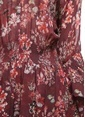 İro Çiçekli Şifon Elbise Renkli